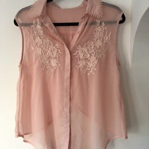 Lush Pink Blush Sheer Button Down Blouse